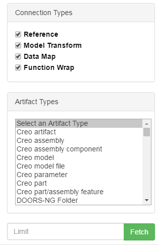 Figure 2: Artifact and Connection Type Filtering Choices