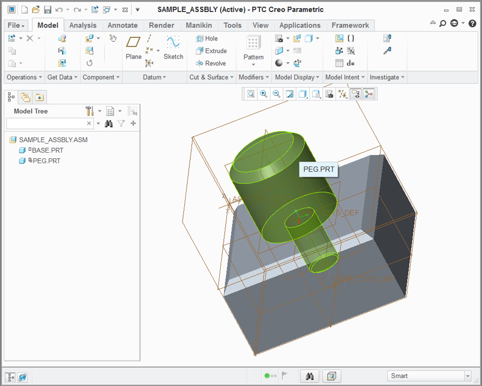 Figure 1: Creo assembly viewed in PTC Creo Parametric 3.0
