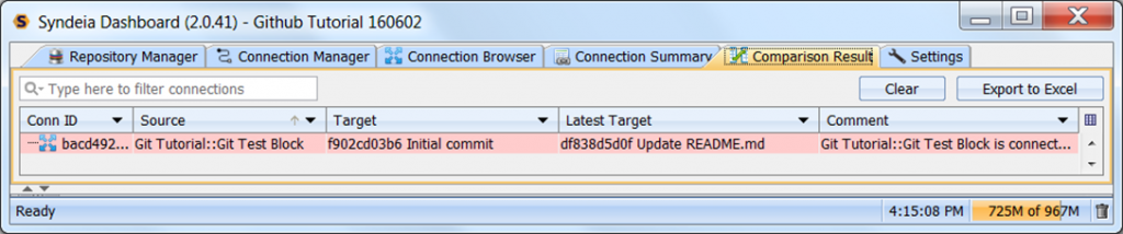 Syndeia dashboard, Comparison Result tab, showing later commit available in branch