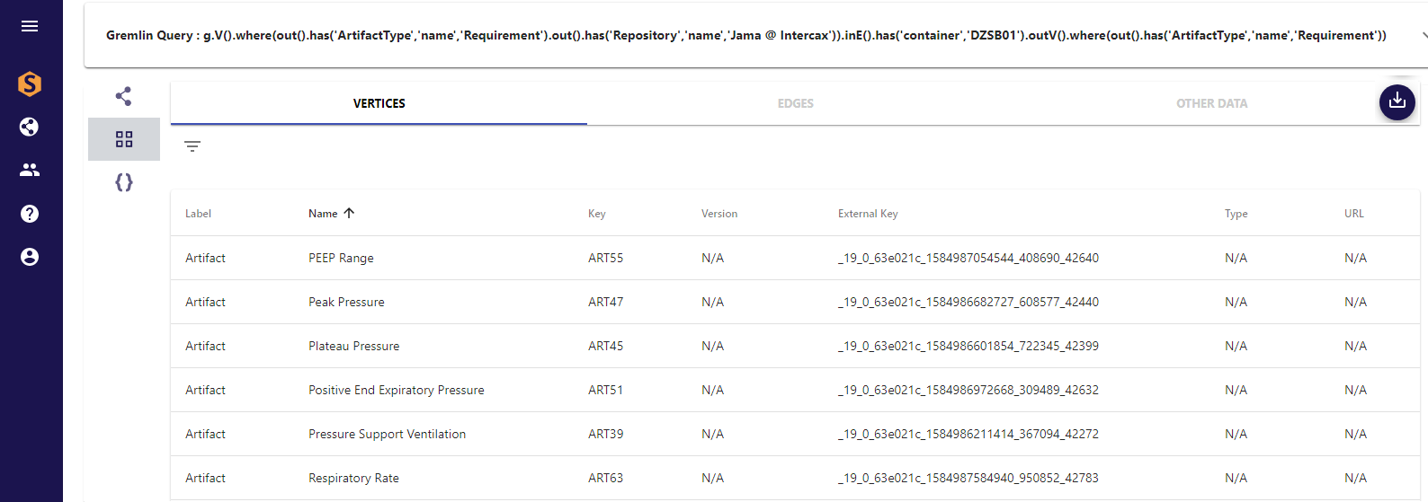 Figure 2 Gremlin query – Jama requirement – SysML requirement, displayed as list of SysML requirements (partial)