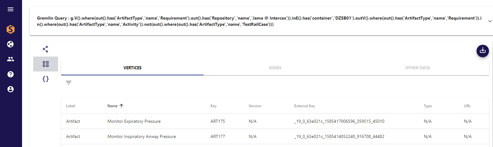 Figure 4 Gremlin query – Jama requirement – SysML requirement – SysML activity – NOT(TestRail Testcase), displayed as list of SysML activities